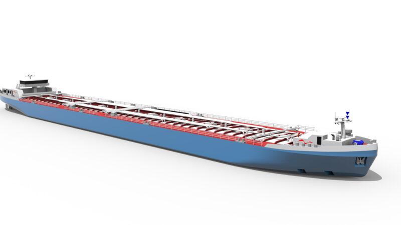 BASF stellt innovatives Tankschiff für Rhein-Niedrigwasser vor